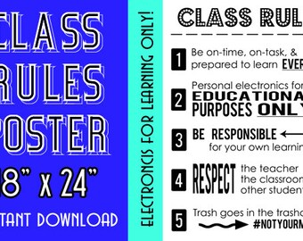 Class Rules Poster | Instant Download | Educational Electronics
