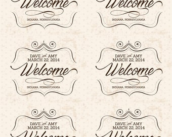"Custom Wedding Welcome Bag Labels, 3.25"" x 4"", Printable, DIY, Vintage, Tags, Labels, Stickers"