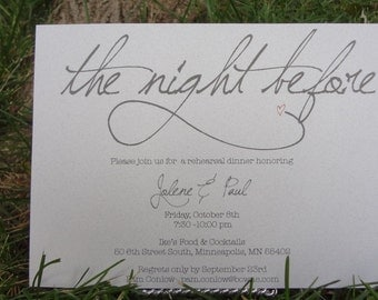 The Night Before:  Simple & Whimsical Wedding Rehearsal Dinner Invitation