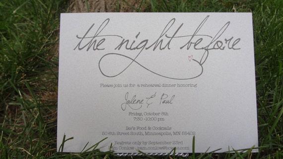 Pre Wedding Dinner Invitation: The Night Before: Simple & Whimsical Wedding Rehearsal Dinner