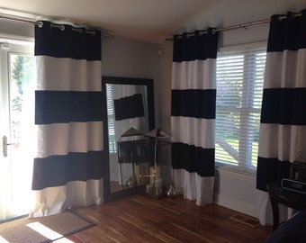 Custom Horizontal Wide Striped Curtain Panels Blackout