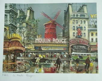 Very Retro and funky prints of   Paris and le moulin rouge   made in  france by  krisarts