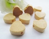 15mm Thick Flat Heart Discs Wood Spacer Beads Pendant Charm Findings,Holes through,DIY Accessory