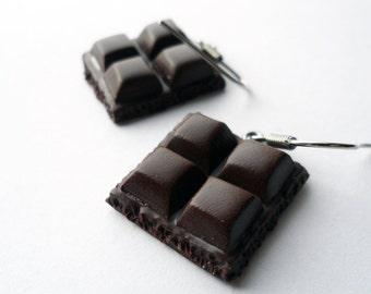 Chocolate Bar earrings Handmade , Chocolate earrings, chocolate jewelry, Polymer clay, miniature food jewelry, polymer clay chocolate