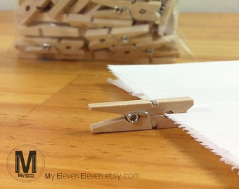 15 Wooden Clothes Pins clips pegs_Small Medium Large size_good for hang photos_Table deco_Escort card holders