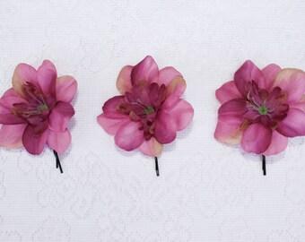 flower clip, Mauve and Violet Delphenium Blossom Flower Hair Pins, wedding, festival, picnic, handcrafted