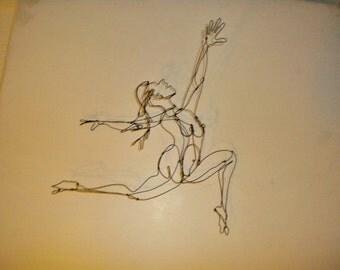 Flight--3-D steel wire female figure