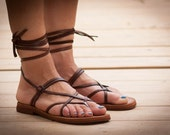 Brown Leather Sandals, Brown Sandals, Gladiator Sandals, Summer Shoes, Greek Sandals , Free Shipping