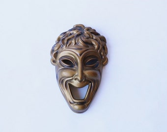 FOR an ARTSY FARTSY: vintage mask wall hanging bronze plaster wall art home decor fun figurine theater
