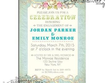 Engagement party invitations - soft romantic colors - printable - no.315