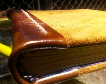 Leather Case Bound Book with Decorative Stitching - Handmade!