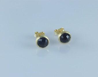 Elegant Black Onyx Bezel Stud Earrings, Natural Gemstone Stud Earrings, Bezel Set Stud Earrings,Round Stud Earrings, Vermeil Stud Earrings