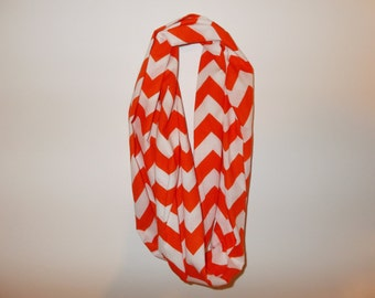 Orange and white Chevron Infinity Scarf