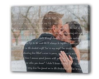 Wording over Photo First Dance Lyrics/ Wedding Canvas Photo Decor Words Vows lyrics/ Anniversary or Wedding Art