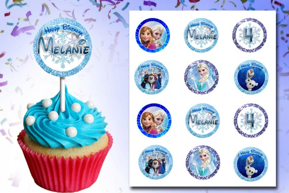 Frozen Olaf Elsa Princess Cup Cake Cupcake Topper Toppers Printable ...
