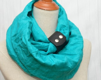 Linen Infinity Scarf. Chunky Scarf. Natural Linen. Turquoise. Black leather cuff.