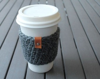 Coffee Cup Cozy / Coffee Cup Sleeve / Coffee Cozy / Tea Cup Sleeve - Great Smoky Mountains Dark Gray