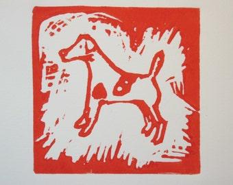 Little Dog - Original Linocut print
