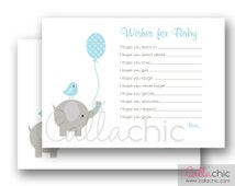 Elephant Wishes for Baby Boy PRINTABLE (Simple Elegant Elephant with Bird and Balloon) 5x7 - INSTANT DOWNLOAD