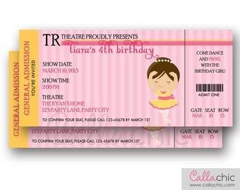 Ballerina Ticket Invitation PRINTABLE   Ballet Birthday Invite For Girls  (Pink Brown)