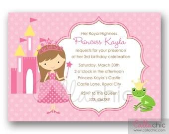 Princess Invitation PRINTABLE (Pink with Frog Prince) - Princess Birthday Invite for Girls