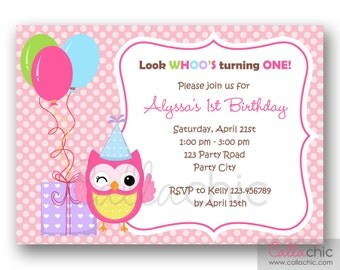 Owl 1st Birthday Invitation PRINTABLE - Girl / Boy 1st Birthday Party Invitation - with Balloon and Presents