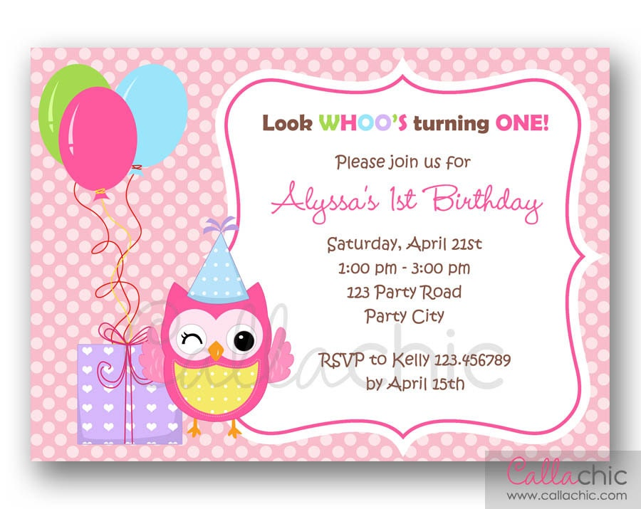 Owl 1st Birthday Invitation PRINTABLE Girl / Boy 1st