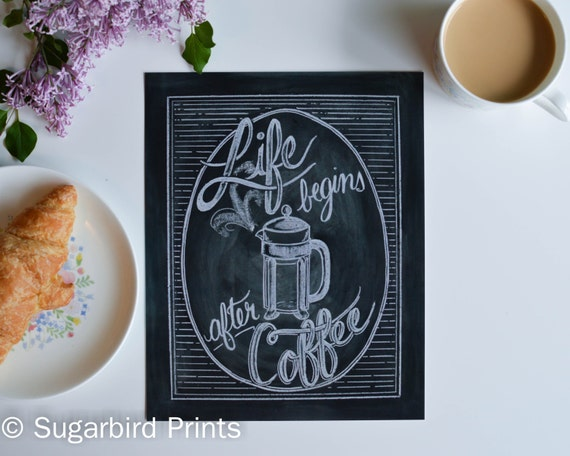 Items similar to life begins after coffee print coffee Gifts for kitchen lovers
