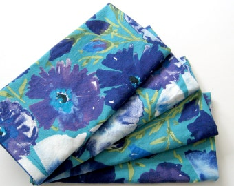 Cloth Napkins - Set of 4 - Teal Blue Azaleas - Large Dinner Napkins, Table Napkins
