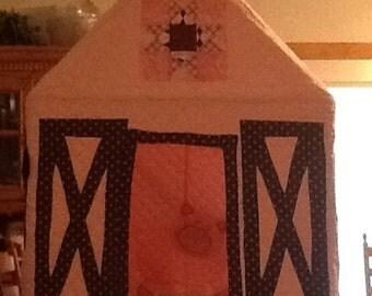 Pink version of barn playhouse