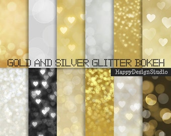 """Gold and silver glitter bokeh, 12""""x12"""", heart bokeh, photo backdrop, commercial use, instant download"""