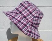 Purple Plaid Flannel with Purple Flowers Reversible Bucket Hat