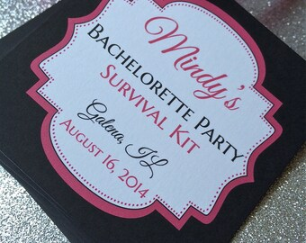 Personalized Bachelorette Party Survival Kit Tags, Custom Bachelorette Party Favors, 21st Birthday Hangover Kit Tag, 18th Birthday Recovery