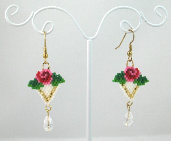 Beaded Rose Earrings with Swarovski Crystals