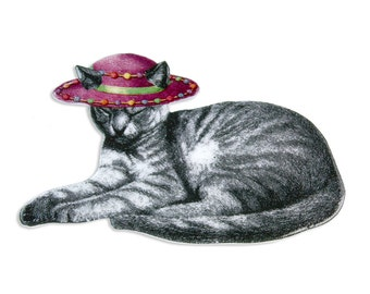 Items similar to stripe girl illustrated brooch plastic for Cat in the hat jewelry