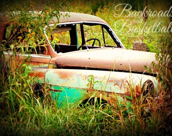 Old car in field fine art home decor wall art photo print