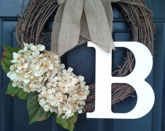 everyday wreath, cream hydrangea wreath with double burlap bow and classic monogram, Everyday wreath, Front door wreath, Door decor