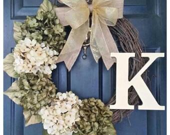 Everyday Wreath, Gold Wreath, Door Decor Wreath, Hydrangea Wreath with Gold Bow