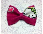 BABY SHOWER // Reserved // Custom Order - Fuchsia - Felt Bow Hair Clip - Upcycled Hello Kitty - Large