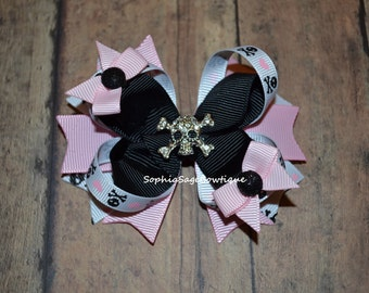 Rhinestone Skull/Crossbones Hair Bow, Pink and Black, Pirate