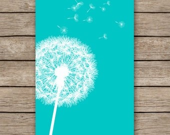 20x30 Dandelion art print, teal home decor, teal nursery decor, home decor,  teal bedroom decor, wall art, dandelion print- INSTANT DOWNLOAD