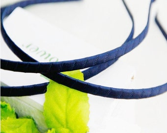 15pcs 5mm Navy Blue Satin Ribbon Covered Wrapped Metal(Steel) Headbands