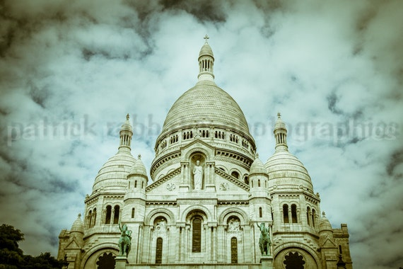 Sacré Coeur Paris Photo  Fine Art Photography Paris Dramatic Romantic Church Montmartre Travel France Blue Green Beige