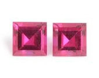 Ruby Synthetic Lab Created Loose Gemstones Set of 2 Square Cut 1A Quality 5mm TGW 1.50 cts.