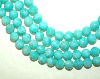 Peruvian Amazonite Beads, Peruvian Amazonite 8mm Round smooth Beads, Full Strand 16 inches or Half Strand 8 inches