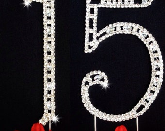 15th Birthday Number Cake Topper  Large Rhinestone Crystals Cake Decorations