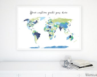Custom Quote Printable World Map With Us States And Canadian Provinces Lime Green And