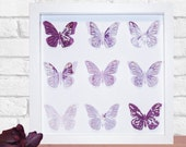 Framed Butterfly 3D Paper Art, Home Decor, in your choice of colour