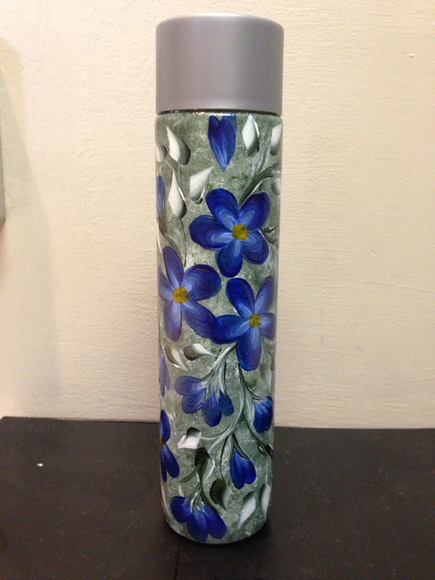 Hand painted repurposed glass water bottle for Hand painted bottles