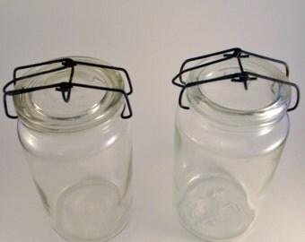 Set of 2 vintage fruit jars -  glass - '40 - Made in Czechoslovakia